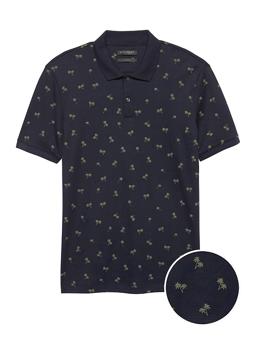 Slim Luxury-Touch Palm Print Polo