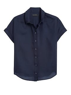Cotton-Silk Roll-Cuff Shirt