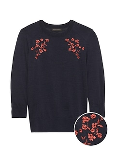Petite Merino-Blend Embroidered Sweater
