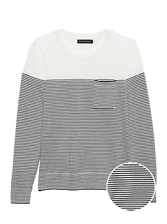 Petite Washable Merino Stripe Pocket Sweater