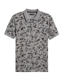 Slim Luxury-Touch Floral Polo