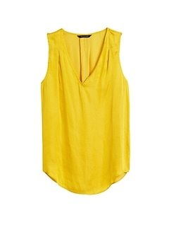 Petite Soft Satin Pleated Drapey Tank