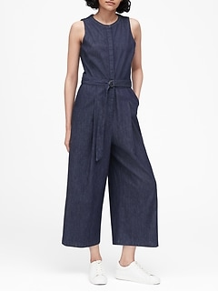 Denim Wide-Leg Cropped Jumpsuit