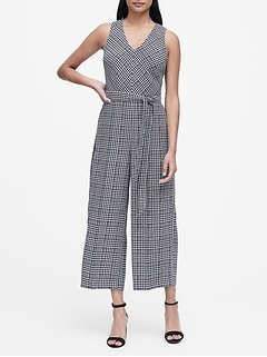 Plaid Wide-Leg Cropped Jumpsuit