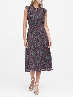 Petite Floral Fit-and-Flare Dress