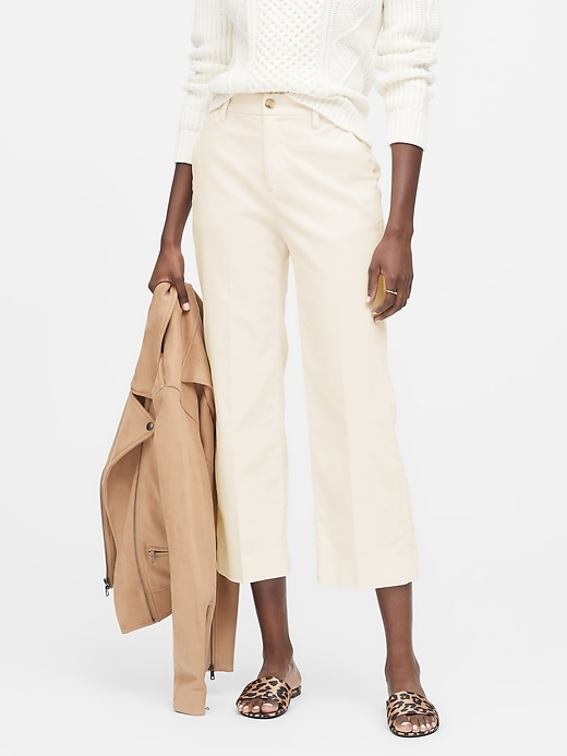 Slim Wide Leg Corduroy Cropped Pant by Banana Repbulic
