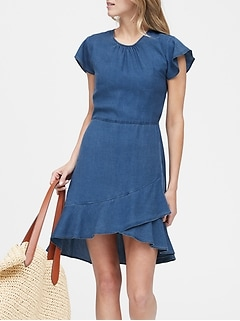 TENCEL™ Flutter-Sleeve Mini Dress