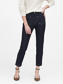 High-Rise Straight-Fit Patch Pocket Jean