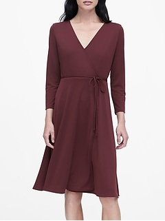 Petite Wrinkle-Resistant Wrap Dress