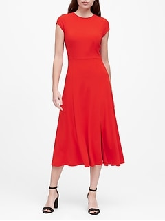 Soft Ponte Midi Dress with Slit