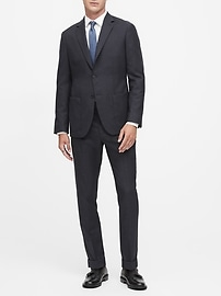 Slim Tapered Houndstooth Wool Suit Trouser