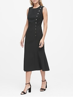Petite Buttoned Midi Dress