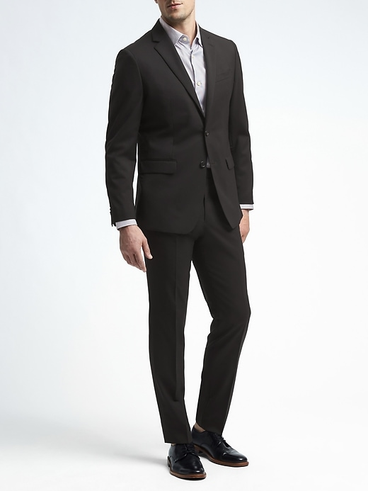 Slim Solid Italian Wool Suit Jacket + Slim Solid Italian Wool Suit Pant