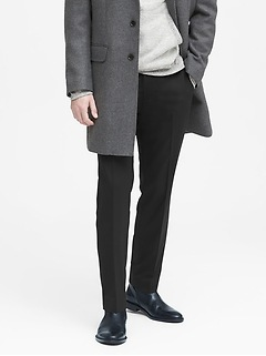 Slim Solid Italian Wool Suit Pant