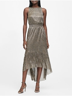 Petite Metallic High-Low Dress