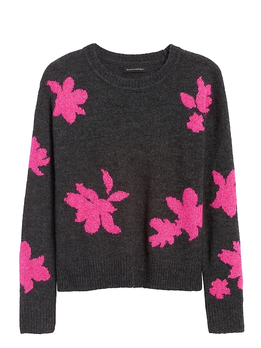 Petite Floral Cropped Sweater