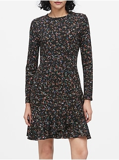 Print Soft Ponte Ruffle Mini Dress