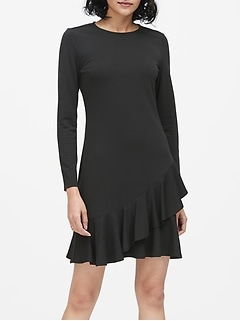 Soft Ponte Ruffle Mini Dress