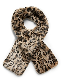 Leopard Faux Fur Pull-Through Scarf
