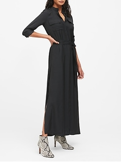 Petite Utility Maxi Shirt Dress