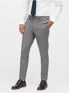 Slim Tapered Italian Wool Plaid Suit Pant