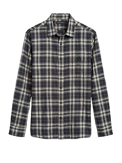 Untucked Slim-Fit Crinkle Flannel Shirt