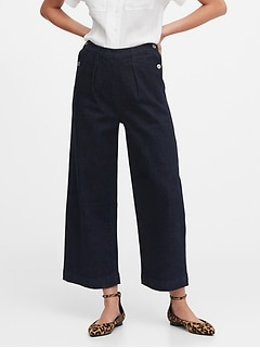 JAPAN EXCLUSIVE High-Rise Wide-Leg Cropped Sailor Jean