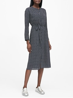 JAPAN EXCLUSIVE Print Midi Shirtdress