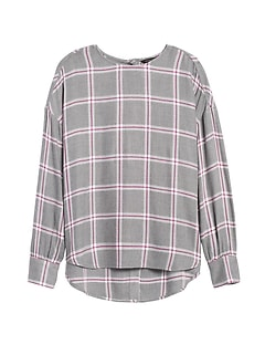 JAPAN EXCLUSIVE Oversized Flannel Button-Back Shirt