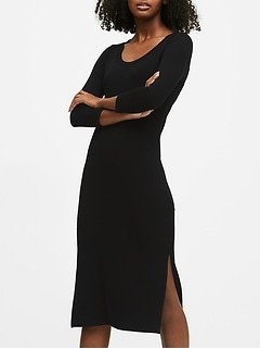 Petite Scoop-Neck Ribbed T-Shirt Dress