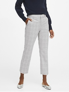 JAPAN EXCLUSIVE Avery Straight-Fit Plaid Ankle Pant