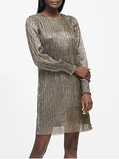 Petite Metallic Boat-Neck Shift Dress