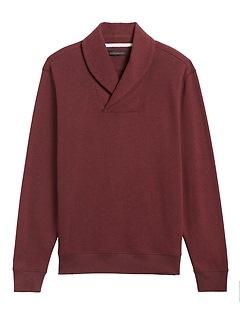Waffle-Knit Shawl-Collar Sweatshirt