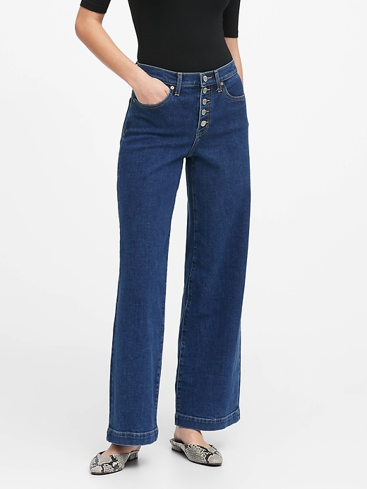 High-Rise Wide-Leg Button Fly Jean
