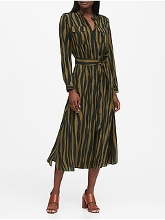 Petite Print Utility Shirt Dress
