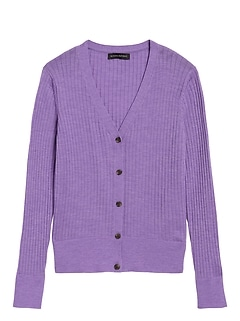 Washable Merino Ribbed Cardigan Sweater