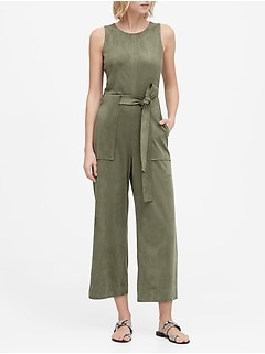 Vegan Suede Cropped Wide-Leg Jumpsuit