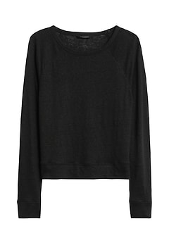 Linen Raglan Cropped T-Shirt