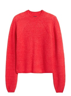 Aire Cropped Puff-Sleeve Sweater