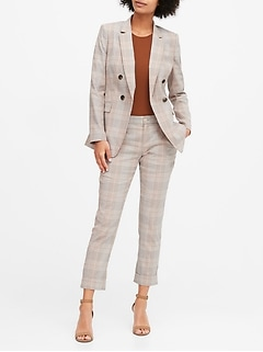 Petite Slim Double-Breasted Linen-Cotton Blazer