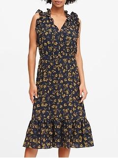 Floral Ruffle Midi Dress