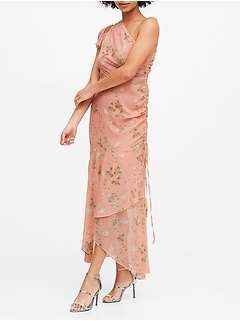 Floral Ruched One-Shoulder Dress