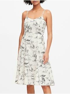 Linen-Cotton Midi Dress