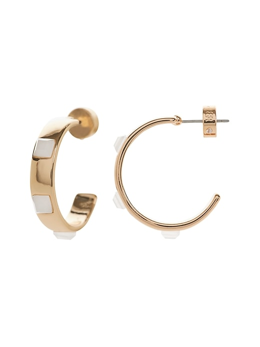 Gold Inlay Hoop Earrings