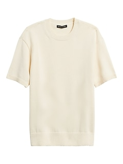 JAPAN EXCLUSIVE Cotton-Blend Short-Sleeve Sweater