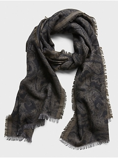 Wool-Cotton Paisley Scarf