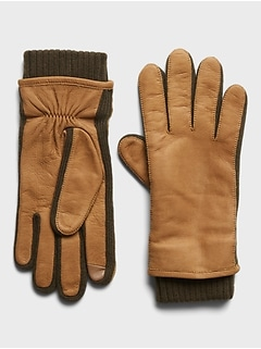 Nubuck Leather & Merino-Blend Gloves