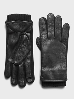Leather & Merino-Blend Gloves