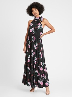 Tie-Neck Maxi Dress