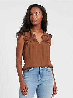 Satin Ruffle Top